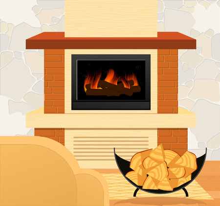 Fireplace and firewood,  illustration  Vector