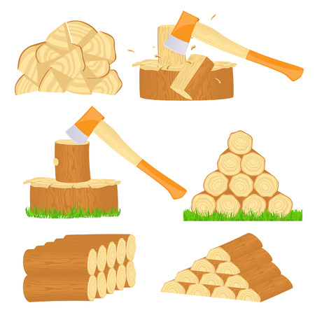 firewood: Firewood chop icons,   illustration  Illustration