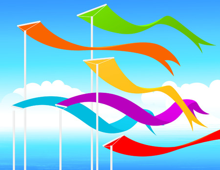 fluttering: Fluttering flags, illustration