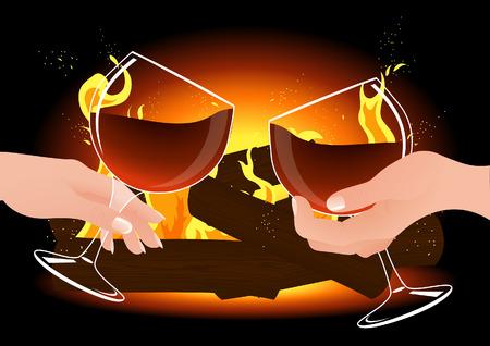Romantic evening,  illustration Vector