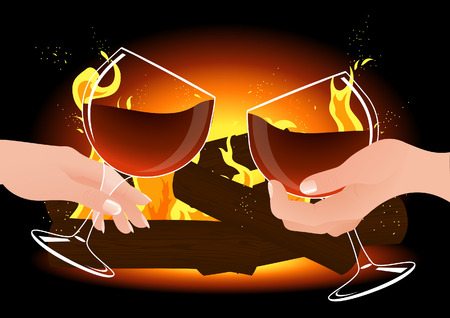 romantic evening with wine: Romantic evening,  illustration