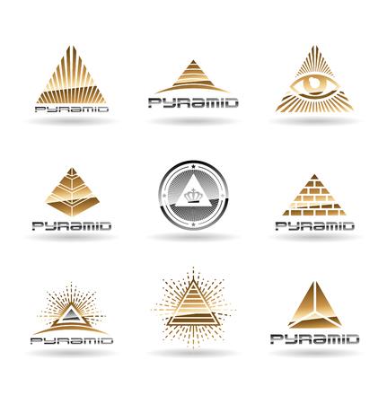 Pyramid icons set.