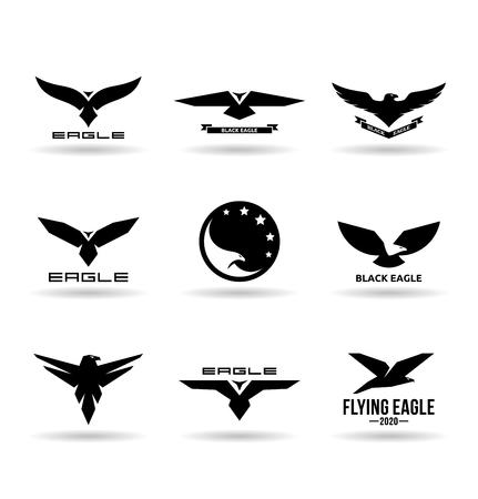 Eagle icons set Illustration