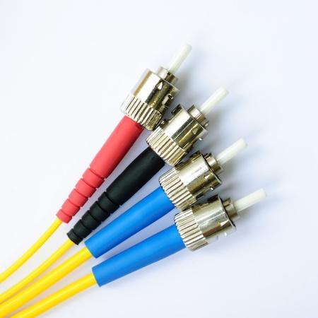 fibre optique: quatre optique monomode connecteurs r-type de vue de dessus