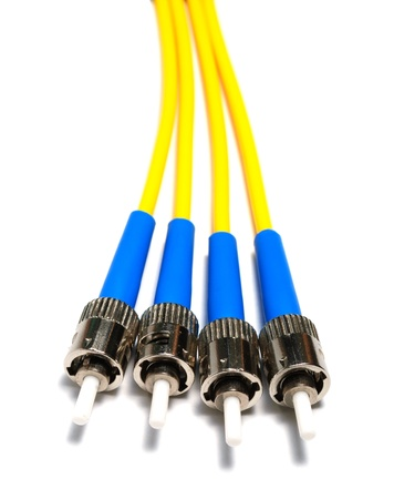 optical instrument: four single-mode optical connectors st-type  view from above  Stock Photo