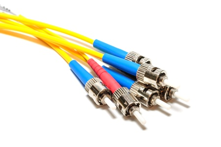 fiber optic cable: Three double-single-mode optical connectors ST-type  Isolated on white background