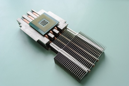 The server processor, heat sink mounted on passive cooling. Diagonal layout. Stock Photo - 13638055