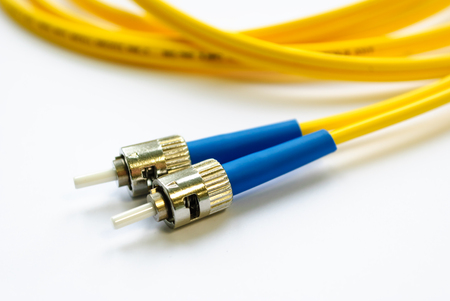connectors: two single-mode optical connectors st-type. front view.