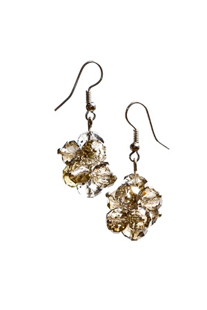 zircon: Shining elegant modern earrings with zircons isolated on white Stock Photo