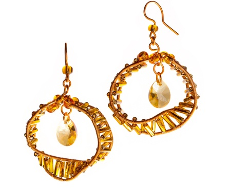 spangles: Unique handmade wire-work earrings with yellow drops and spangles
