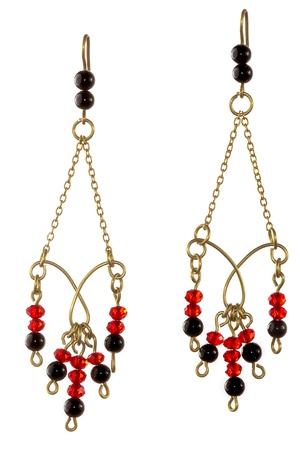 wirework: Unique handmade wire-work chain earrings with red and black beads