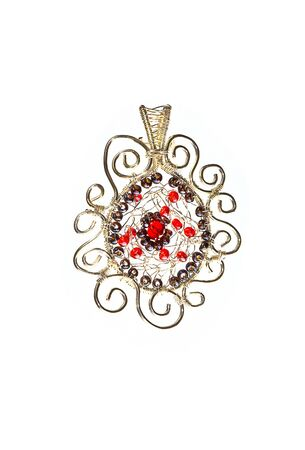 wirework: Unique handmade wire-work pendant with red and silver beads