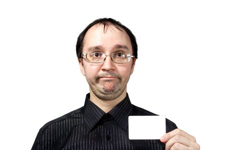 consternation:  Confused surprised men with businesscard isolated on white Stock Photo