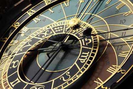 famous old medieval astronomical clock in Czech capital Prague photo