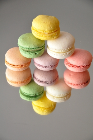 Macarons on mirror Stock Photo - 18195709
