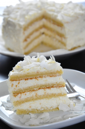 layer cake: Coconut Layer Cake Stock Photo