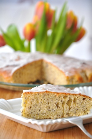 Lemon cake with tulips photo