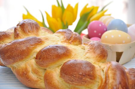A loaf of challah bread for easter photo