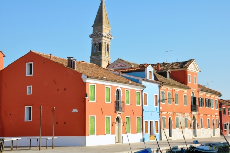 Colorful houses on the island of Burano in the Venetian lagoon - Italy
