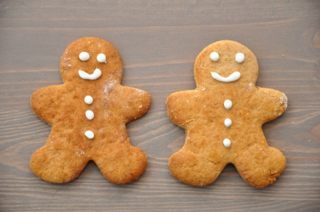 Traditional Christmas gingerbread man cookies photo