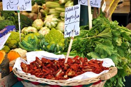Market stall with organic vegetables Stock Photo
