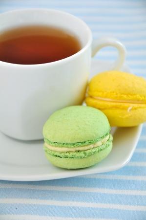 Macarons and tea photo