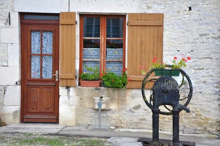 Old  French stone house in France photo