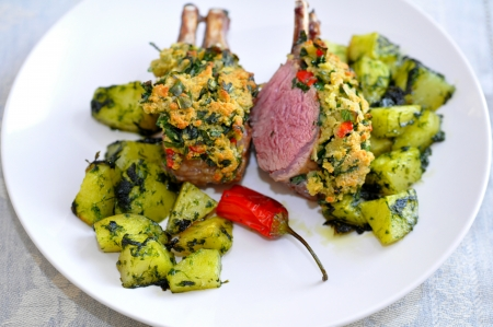 Lamb Chops with potatoes and chili photo