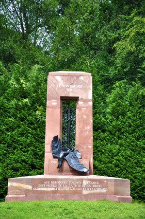 armistice: Alsace Lorraine monument armistice at Compiegne, France, 1918