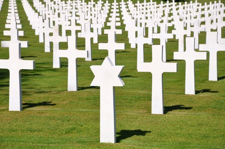American War Cemetery at Omaha Beach in Normandy photo