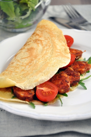 Pancakes with chorizo photo