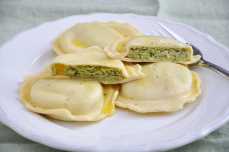 Homemade Ravioli with spinach photo