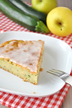 Sweet cake with zucchini and apple photo