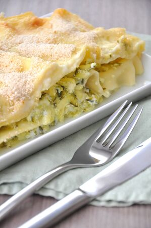 Vegetable lasagna with zucchini photo
