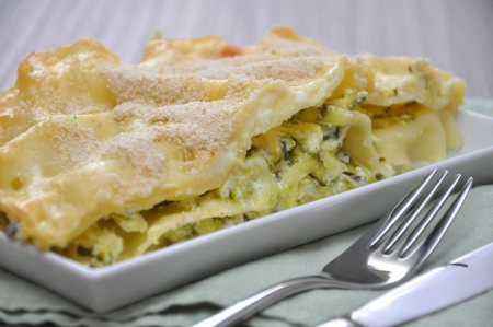 Vegetable lasagna with zucchini Stock Photo