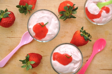 Panna cotta with strawberries photo