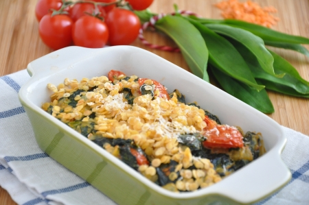 Wild Garlic and red lentils gratin Stock Photo - 19139469
