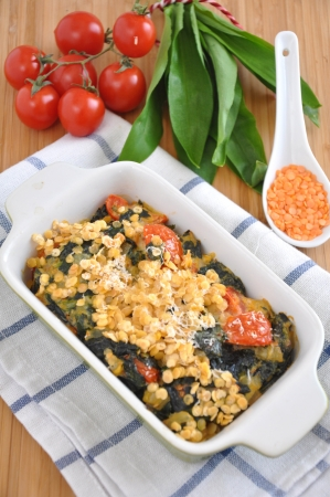 Wild Garlic and red lentils gratin Stock Photo - 19139465