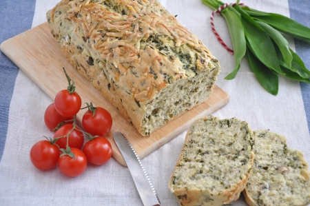 Bread with wild garlic photo