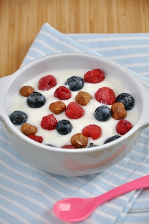 Yoghurt with berries photo