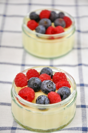 Bowl of Pudding with fresh berries photo