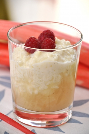 Rice Pudding with rhubarb and raspberries photo