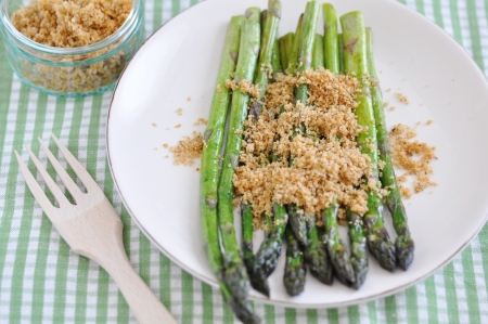 breadcrumbs: Green Asparagus with breadcrumbs Stock Photo
