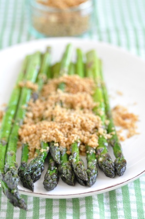 Green Asparagus with breadcrumbs photo