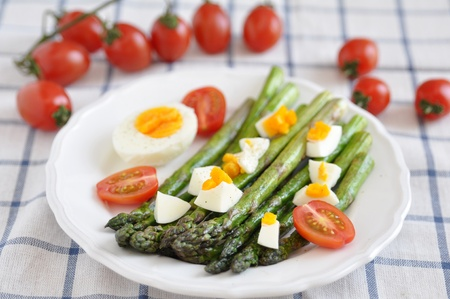 Green Asparagus with hard boiled egg Stock Photo - 19333352