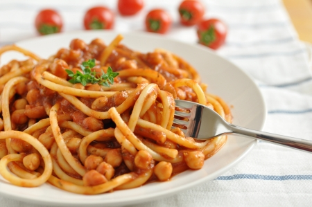 Spaghetti with tomato sauce and beans Stock Photo - 19395636