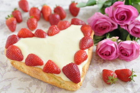 Heart Shaped Vanilla Cake with strawberries