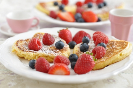 heart shaped: Heart Shaped Pancakes with fresh berries