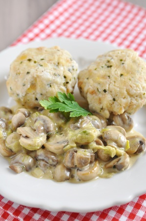 German bread dumplings with mushrooms photo