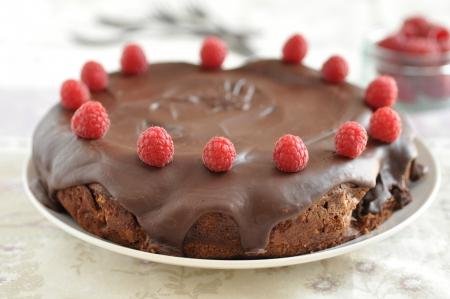 Chocolate Cake with raspberries Stock Photo - 19396130